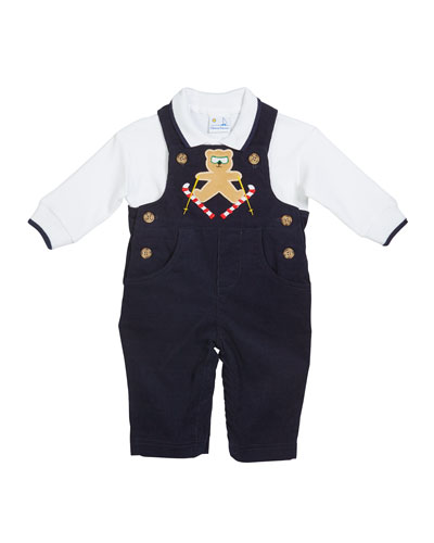 Boy's Skiing Bear Overalls w/ Long-Sleeve Polo Shirt  Size 3-24 Months