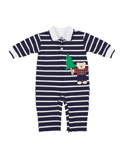 Boy's Stripe Lumberjack Bear Applique Coverall  Size 3-24 Months