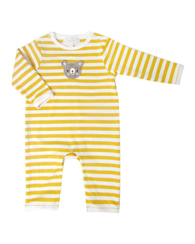 Stripe Crochet Bear Face Coverall  Size 0-12 Months