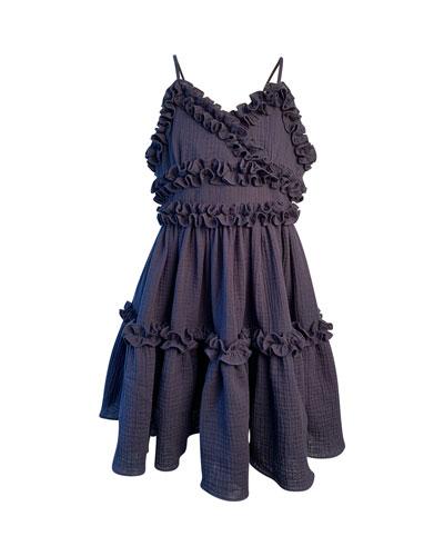 Girl's Laundered Ruffle Trim Sun Dress  Size 4-6