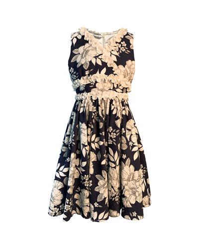 Girl's Floral-Print Dress w/ Ruffle Trim  Size 4-6