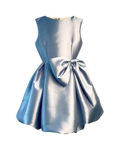Girl's Satin Pleated Dress w/ Oversized Bow  Size 2-6