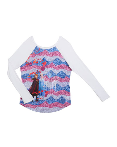 Frozen 2 Enchanted Forest Baseball Tee  Size 7-12