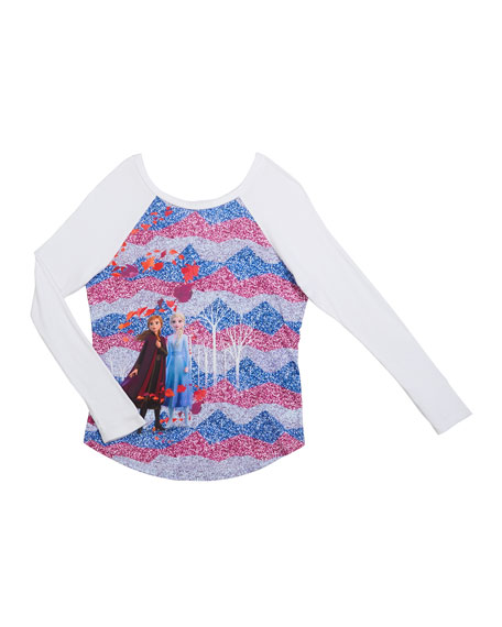 Frozen 2 Enchanted Forest Baseball Tee, Size 7-12
