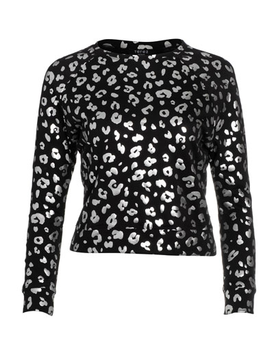 Girl's Foiled Cheetah Print French Terry Sweater  Size 7-16