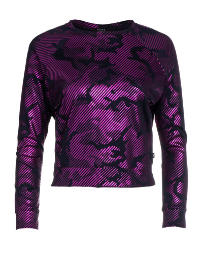 Girl's Camo Foil Printed French-Terry Sweatshirt  Size 7-16