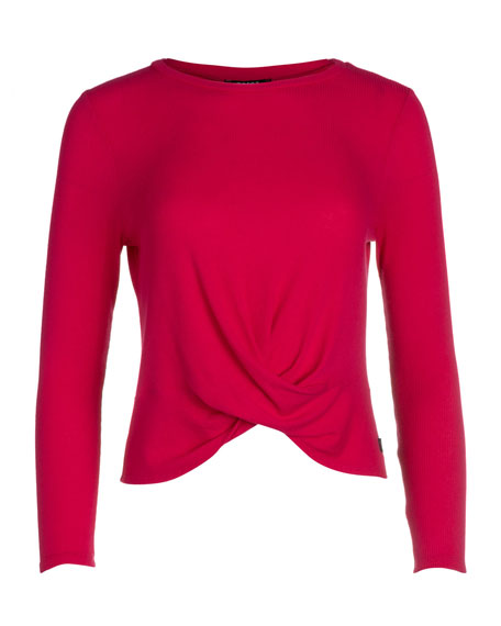 Girl's Hot Pink Long-Sleeve Twist Front Waffle Top, Size 7-16