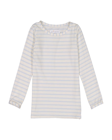Girl's Stripe Long-Sleeve Top, Size 6M-8