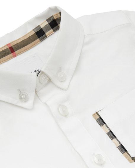 Boy's Harry Button Front Shirt w/ Check Trim Pocket, Size 6M-2
