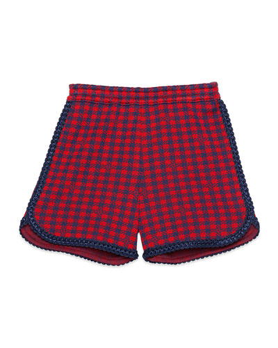 Girl's Check Shorts with Braided Trim  Size 4-12
