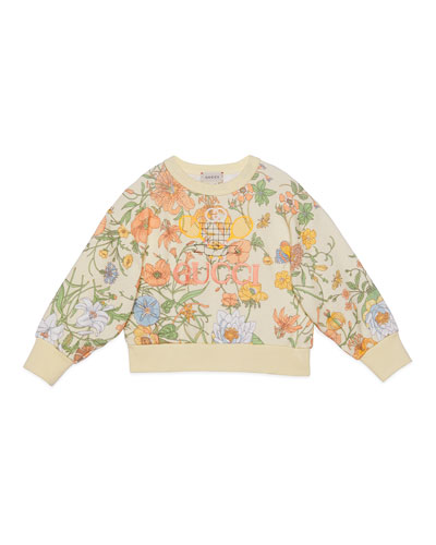 Girl's Floral Jersey Sweatshirt w/ Tennis Embroidery  Size 4-10
