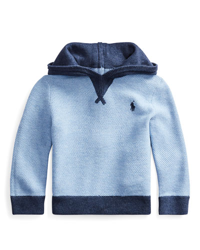 Boy's Zip-Back Texture Knit Hoodie  Size 6-24 Months