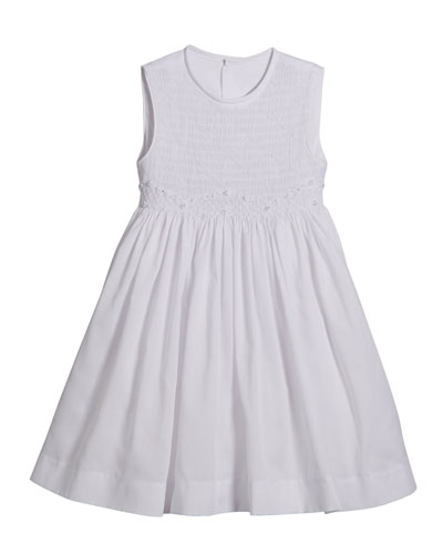 White Smocked Dress  Size 2-4T