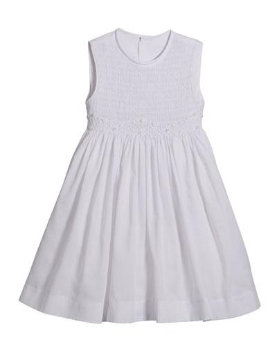 White Smocked Dress  Size 5-6X