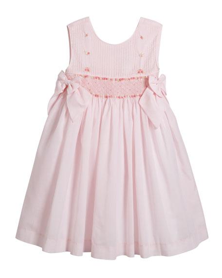 Sleeveless Smocked Bow Dress, Size 2-4T