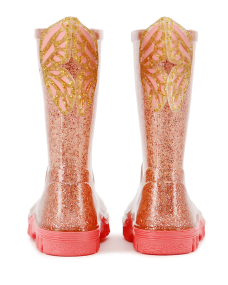 Glitter Welly Butterfly Rain Boots, Baby/Toddler