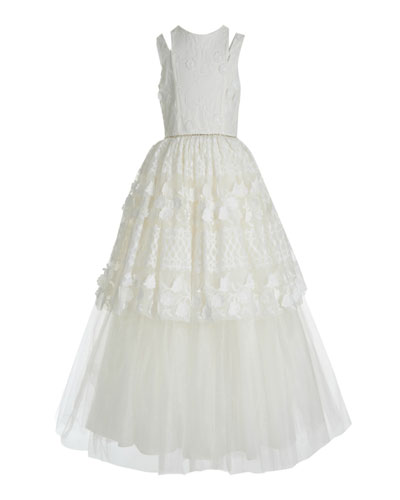 Kid's Split Shoulder Lace Tulle Tiered Gown  Size 7-14