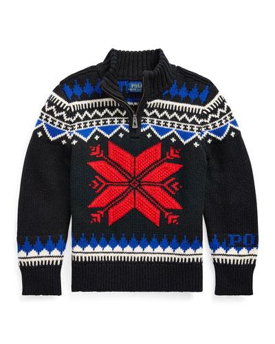 Boy's Fair Isle Knit Quarter-Zip Sweater  Size 2-4