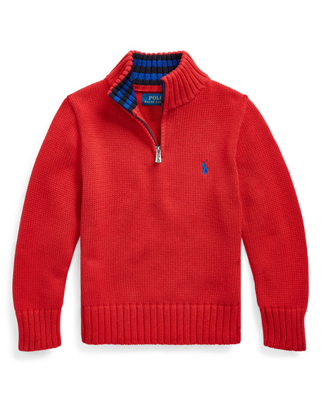 Boy's Combed Cotton Half-Zip Pullover, Size 2-4