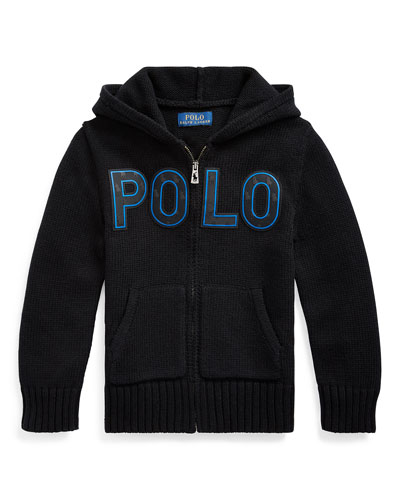 Boy's Knit Hooded Sweater Jacket w/ Silicone Patches  Size 2-4