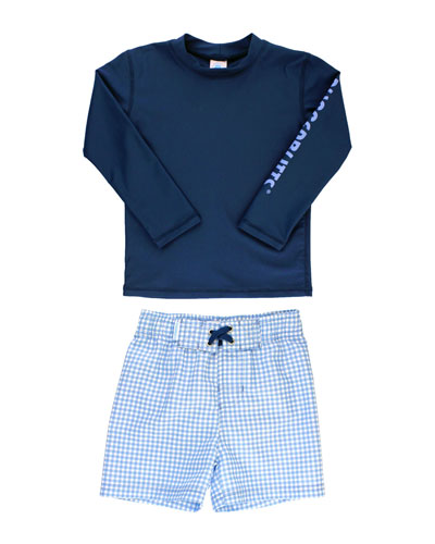 Boy's Rash Guard w/ Gingham Seersucker Swim Trunks  Size 3M-5