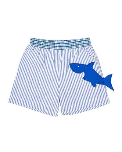 Boy's Striped Seersucker Swim Trunks w/ Shark  Size 6-24 Months