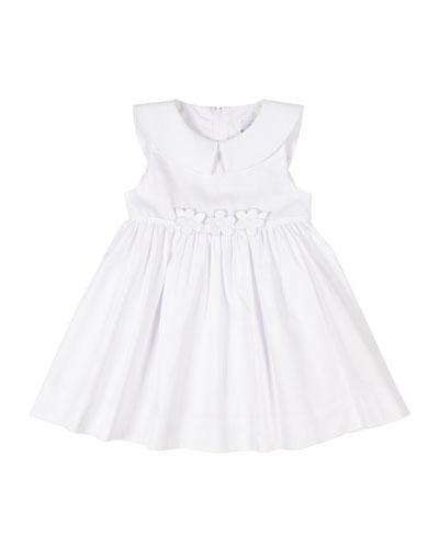 Girl's Fine Wale Pique Dress w/ Flower Applique  Size 9-24 Months