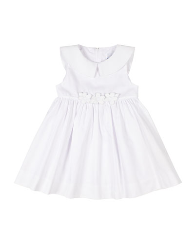 Girl's Fine Wale Pique Dress w/ Flower Applique  Size 2-6X