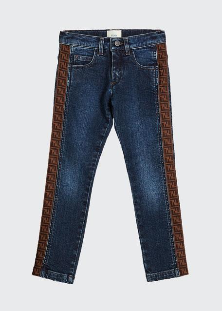 Girl's Denim Jeans w/ Logo Tape Sides, Size 8-14