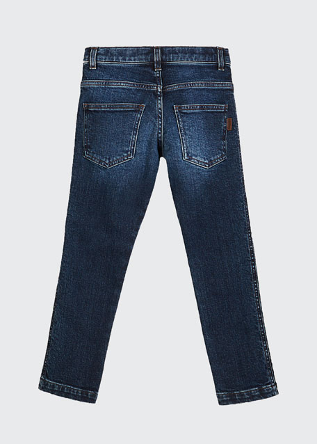 Girl's Denim Jeans w/ Logo Tape Sides, Size 4-6