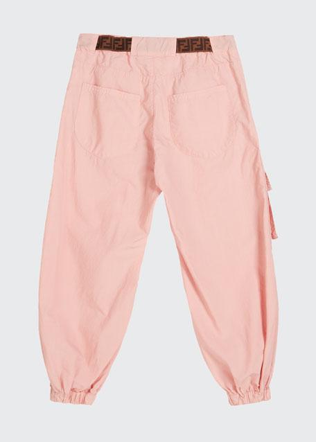 Girl's Jogger Pants w/ Tie Logo Belt, Size 8-14
