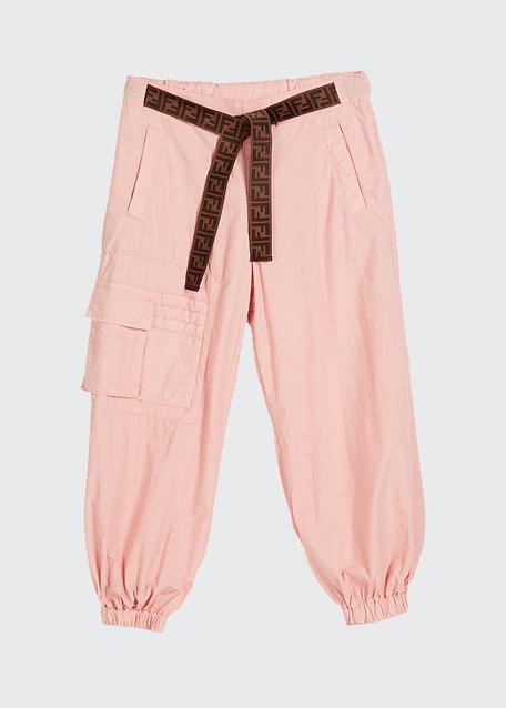 Girl's Jogger Pants w/ Tie Logo Belt, Size 4-6
