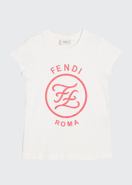 Girl's Short-Sleeve Large Logo T-Shirt, Size 4-6, White