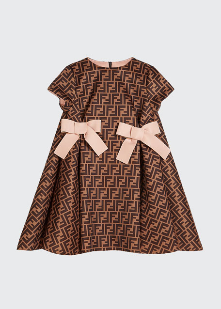 Girl's FF Neoprene Dress w/ Bows, Size 8-14