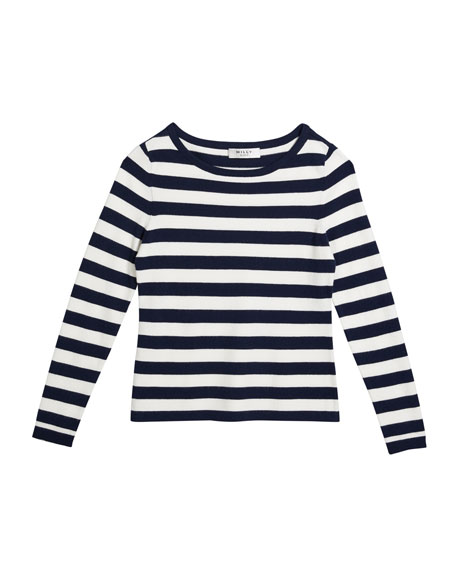 Girl's Striped Boat-Neck Long-Sleeve Top, Size 10-16
