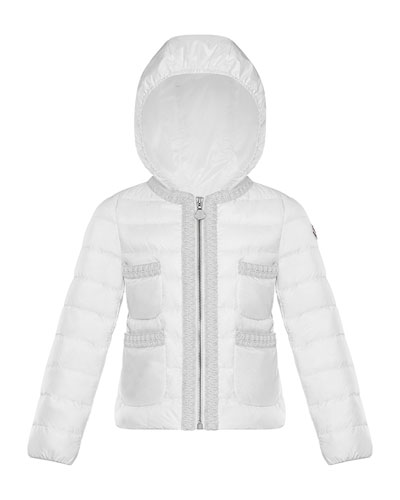 Girl's Citron Quilted Contrast Trim Jacket  Size 8-14