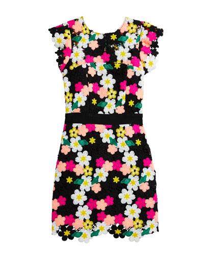 Leila Floral Crochet Lace Dress  Size 7-16