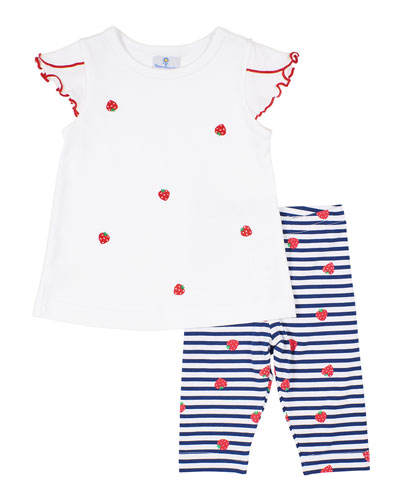 Girl's Strawberry Embroidered Top w/ Striped Capris  Size 12-24 Months