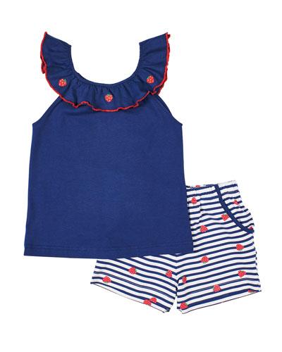 Girl's Strawberry Ruffle-Neck Top w/ Striped Shorts  Size 6X-6