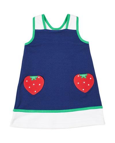 Girl's Colorblock Sleeveless Dress w/ Strawberry Pockets  Size 6X-6