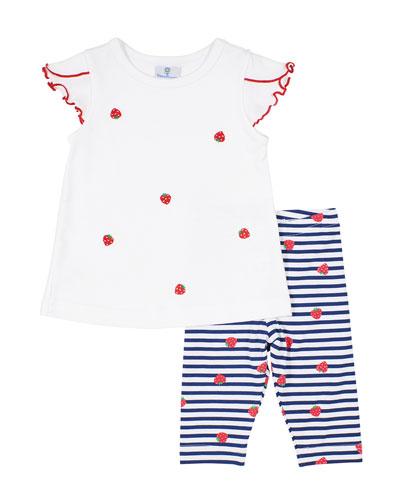 Strawberry Top w/ Striped Pants  Size 2-4T