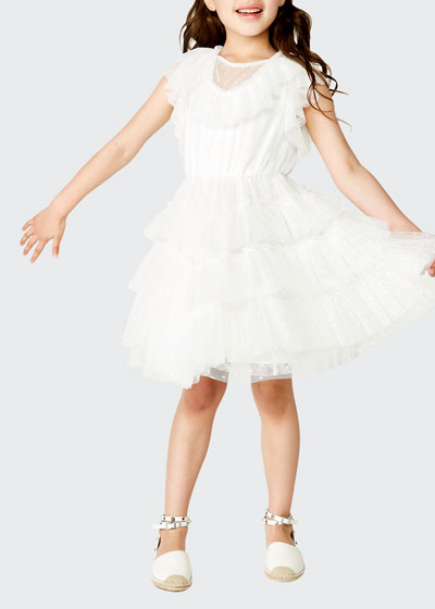 Nadia Tiered Mesh Dress, Size 4-7