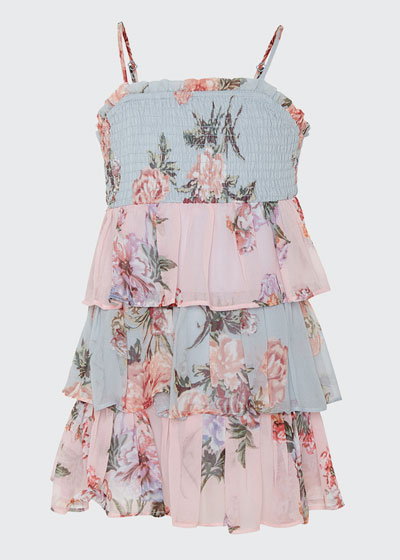 Minka Floral-Print Tiered Dress, Size 8-14