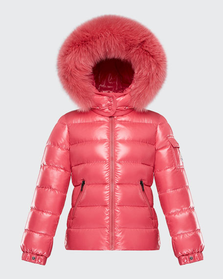 Image 1 of 1: Bady Puffer Jacket w/ Contrast Fur-Trim Hood, Size 4-6