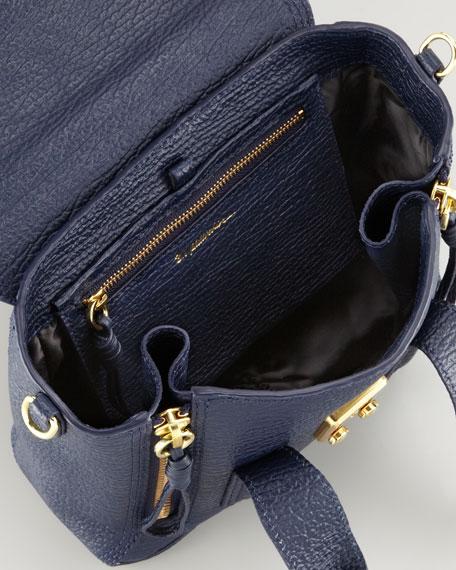 Mini Pashli Leather Satchel, Navy