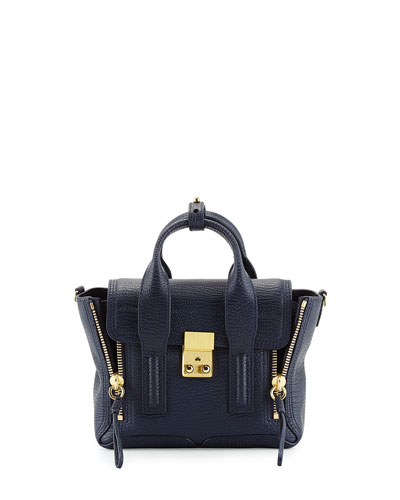 Mini Pashli Leather Satchel, Navy