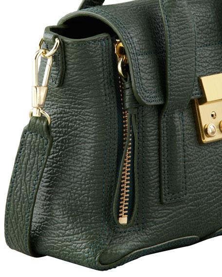Mini Pashli Leather Satchel, Dark Green