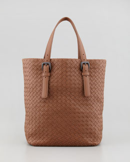 Bottega Veneta Small Woven Leather Box Tote Bag, Light Brown
