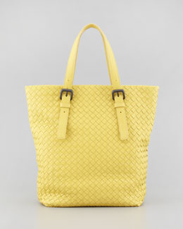 Bottega Veneta Small Woven Leather Box Tote Bag, Yellow