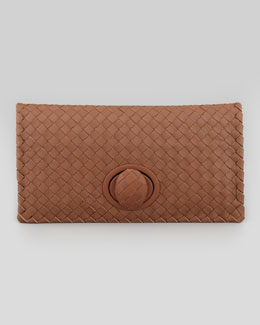Bottega Veneta Full-Flap Turnlock Clutch Bag, Light Brown